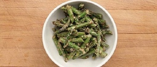 Asparagus with Miso-Tahini Dressing - COCTIONE