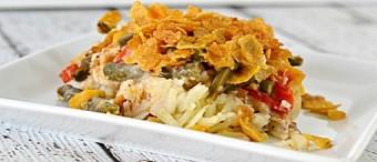 Cazuela vegetariana sin gluten con frijoles verdes y champiñones