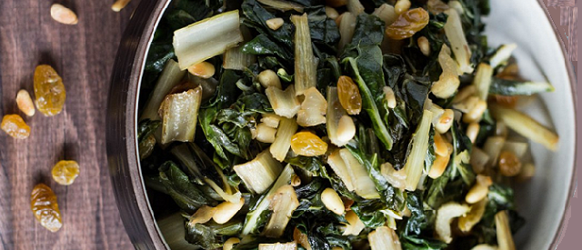 Sauteed Swiss Chard with Raisins and Pine Nuts - COCTIONE