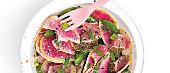 Watermelon Radish Ahi Tuna and Snap Pea Salad